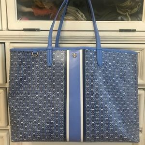 Tory Burch Gemini Chainlink Tote Light Blue